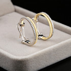 Factory Daily Wear 18K White Gold 18K Yellow Gold 18K Rose Gold Anniversary Diamond Earrings Hoops Huggies For Wife