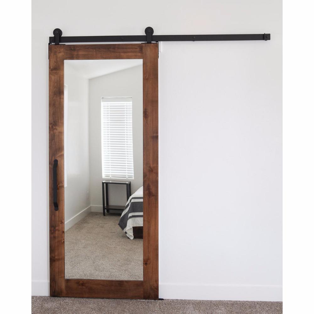 Porte Grange Coulissante Bois panneau de porte coulissante en bois de miroir de style rustique avec le  matériel de porte de grange - buy panneaux de porte coulissante