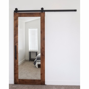 Rustic Style Mirror Sliding Wood Door Panel With Barn Door Hardware