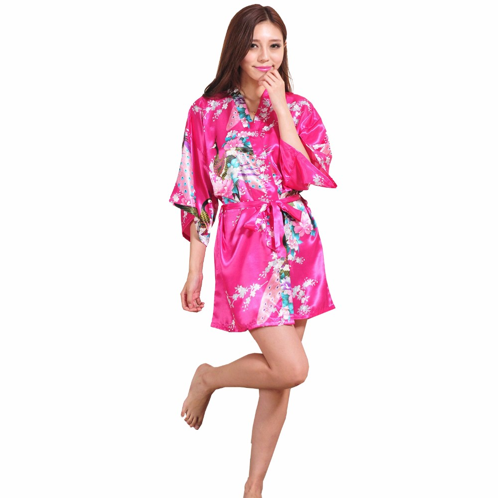 cf6b15b878 2019 Wholesale Hot Pink Chinese Female Silk Rayon Robe Gown Sexy ...