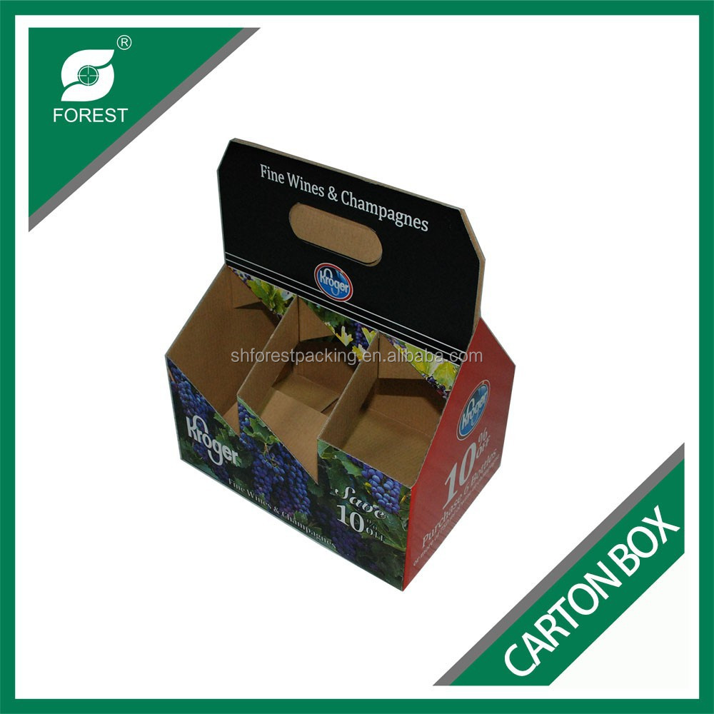 CUSTOM MADE CARTON SHIPPING BOX FOR PACKING WINE BOTTLES 6 BEER PACK BOTTLE HOLDER 6 PACK CARRIER