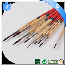 Wholesale Round Shape Point Black Bar Nylon Hair Watercolor Acrylic Brush Artists Painting Brush Art Supplies