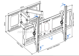 DL-D-108MT 60inch 55inch 46inch retractable swivel LCD PLASMA full motion tv bracket lcd wall mount led stand holder