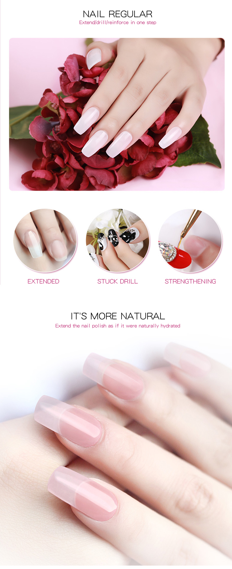 Nail Extension gel Professional no burning no heat uv led gel builder gel