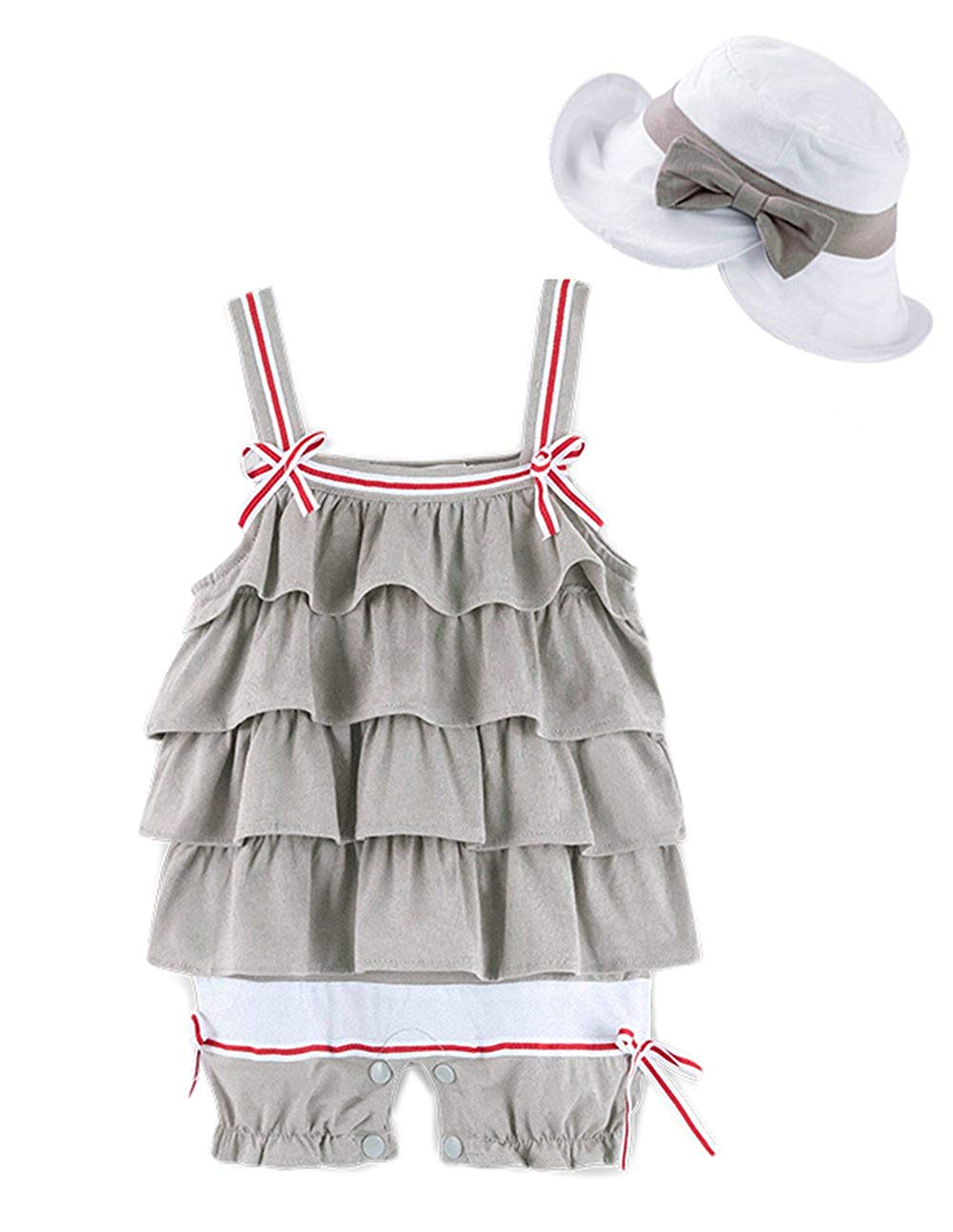 5d8691f72ea Get Quotations · stylesilove Baby Girl Ruffle Layered Sleeveless Cotton  Romper and Hat 2 pcs Set