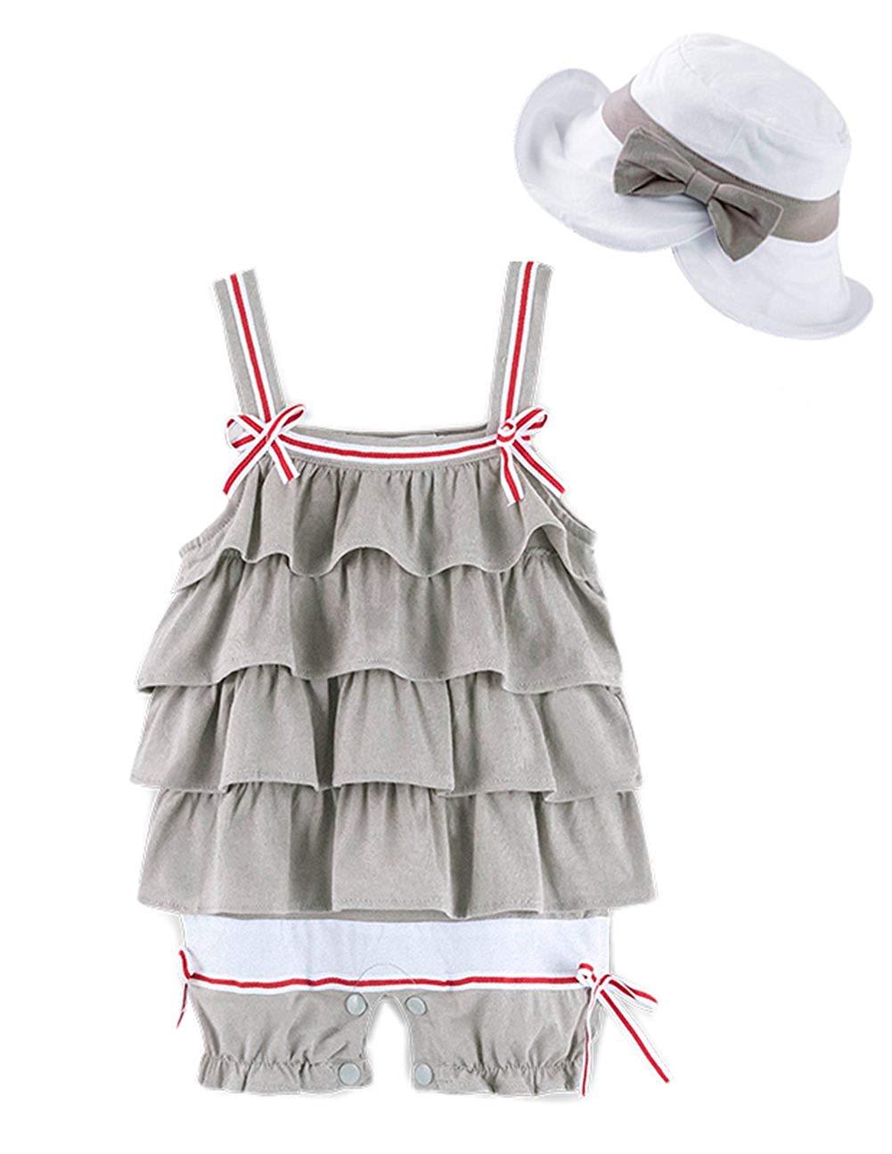 7b772e7fb Get Quotations · stylesilove Baby Girl Ruffle Layered Sleeveless Cotton  Romper and Hat 2 pcs Set