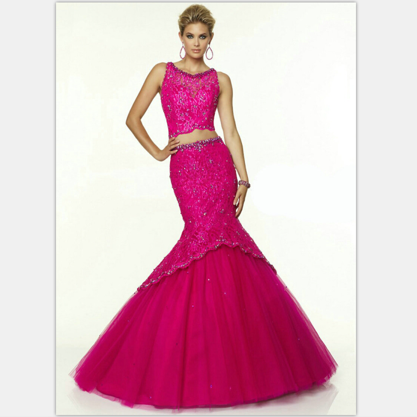 eb05bbe80a Get Quotations · Beautiful Mermaid Prom Dresses Lace Tulle Sleeveless 2  Piece Vestidos Prom Dresses With Crystals 2015 Fuchsia