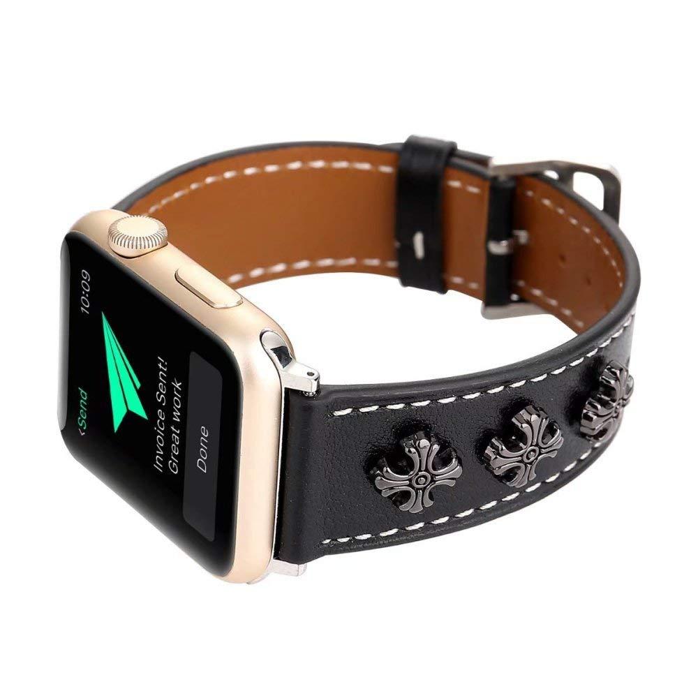 3D Metal Cross Flower Décor Genuine Watch Wristbands Watch Band Leather Pocket Watch Band Watch Band 38mm Series 2 3 1 Watch Band Straps Watch 38mm