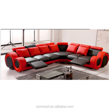 Red Leather Recliner Sofa Quilted