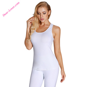 Girls White Long U-shaped Neck Sport Vest Top