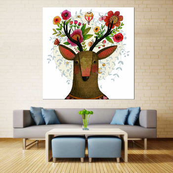 Modern Elk Pictures Watercolor Paintings Abstract Wall Art Animal Canvas Print Arts Cuadros Decoracion Poster and Printed Print