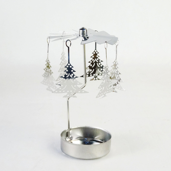Himalayan Stainless Steel Tea Light Rotary Glass Candle Holder with Pine Tree Hanger