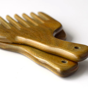 African wooden comb, wide tooth green sandalwood afro hair combs