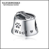Wholesale 925 Sterling Silver Woof Dog Bowl Charm With CZ Stone Fit Snake Bracelet