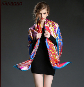 Europe US Popular Special Style Lines Printing Gift Pure Silk Scarf Shawl For Ladywl