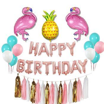 Flamingo Theme Happy Birthday Decoration Set For Kids Party