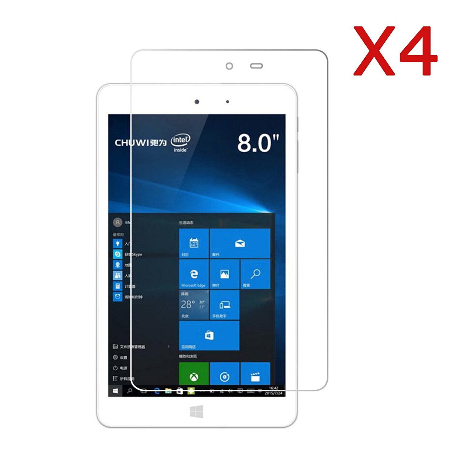 Chuwi Hi8 Screen Protector, Transwon 4-Pack Ultra-Clear HD Screen Protector for CHUWI HI8 Tablet PC - High Definition Invisible Protective Screen Film with Cleaning Cloth