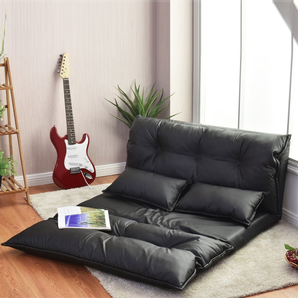 Buy Merax 194 174 Pu Leather Adjustable Floor Sofa Bed Lounge
