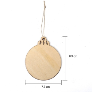 Wooden Round Bauble Blank Hanging Wood Pieces Christmas Tree Pendants Ornaments for Holiday Decoration and DIY Craft Making