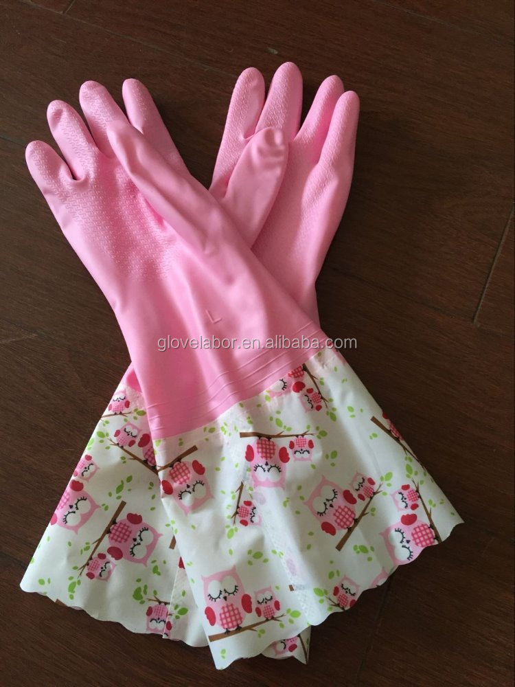 flower cuff long sleeve latex rubber household kitchen gloves