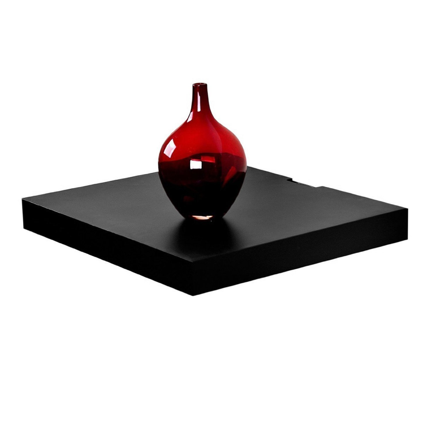 """WELLAND Wall Mounted 18""""x16"""" Black Floating Shelf for Cable or Satellite Box, DVD Player, Game Station, Receiver, Tv Stands with Hidden Bracket"""