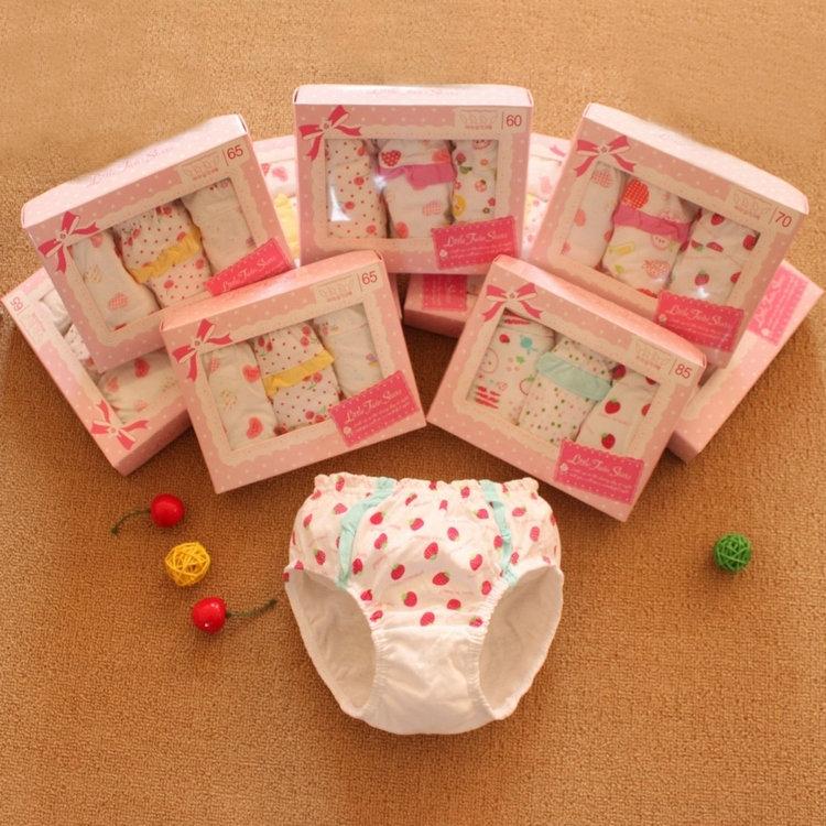 3 PCS WHOLEALE Girls cotton underwear children briefs baby organic cotton underwear high quality