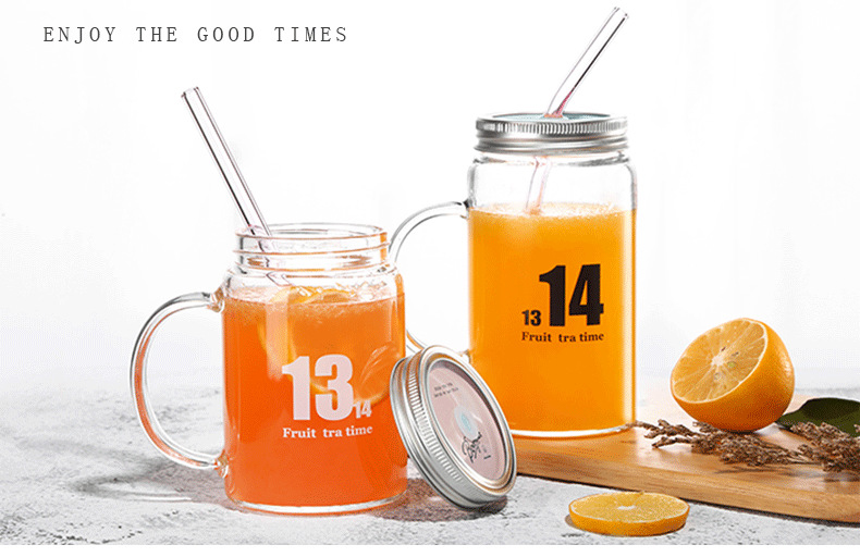 500ml Handmade Heat Resistant Borosilicate Glass Mason Drinking Jar Glass Drinking Mug with Lid and Glass Drinking Straws
