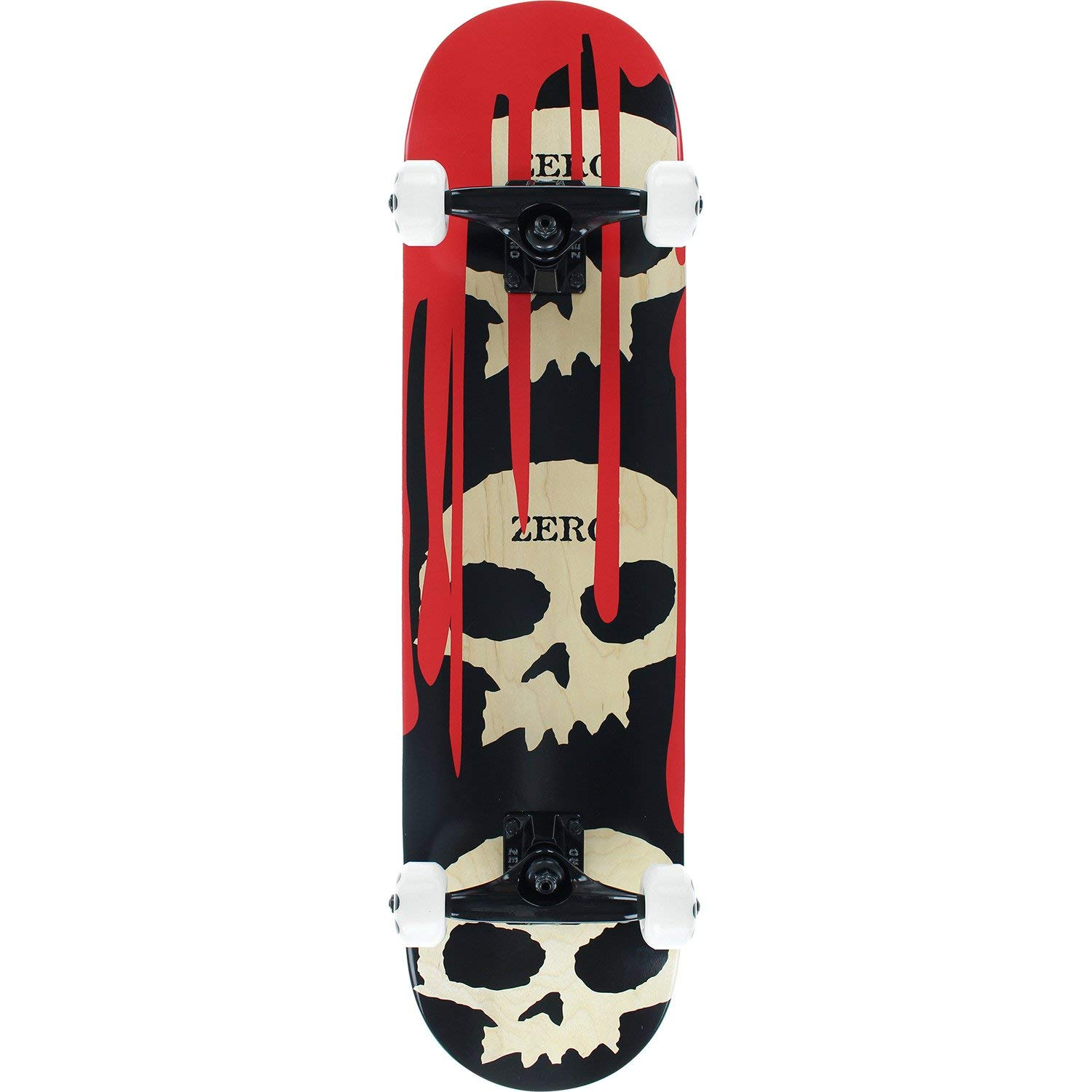 "Zero Skateboards 3 Skull Blood Natural/Red/Black Complete Skateboard - 7.62"" x 31.9"""