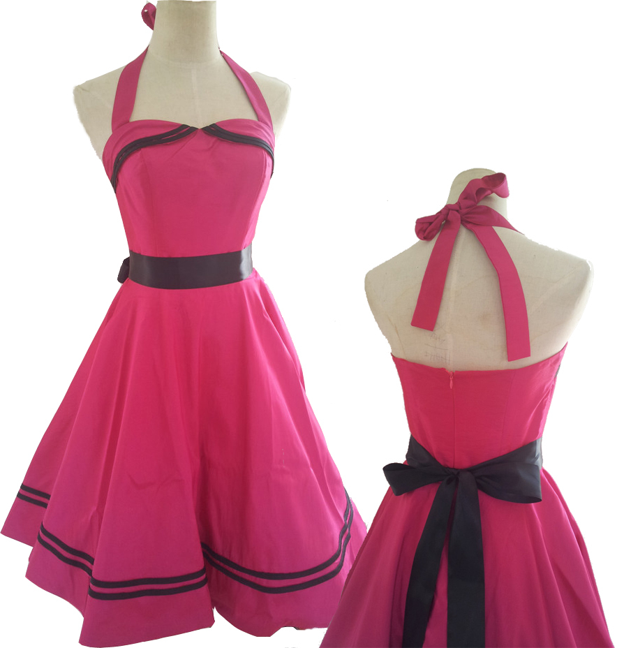 adeeeb61e9 Get Quotations · free shipping FUCHSIA HALTER 40s 50s ROCKABILLY RETRO  COCKTAIL PROM PARTY VINTAGE DRESS S-6XL