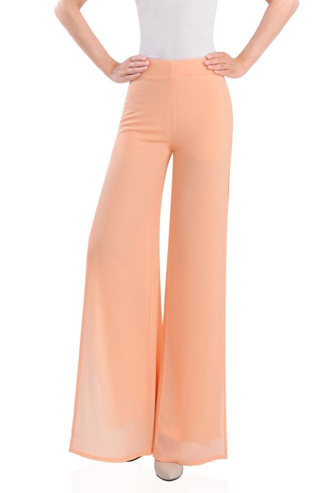 b9d84f307dd3 Get Quotations · 2015 summer women sport back zipper wide leg chiffon  joggers dress pants orange side split trousers