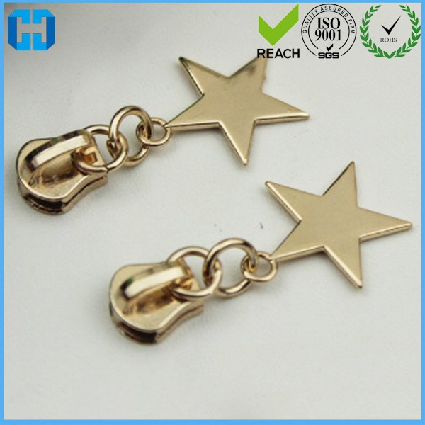 Cheap Metal Zipper Slider With Star Shap Zipper Pull Tag For Wholesale From China