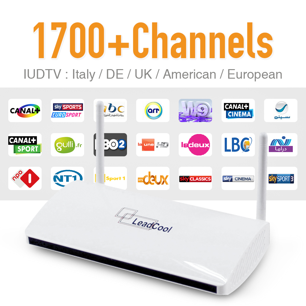 1 Year IUDTV 1700 Hot iptv HD Channels Europe Arabic IPTV LeadCool RK3128 Android <strong>Set</strong> <strong>Top</strong> <strong>TV</strong> <strong>Box</strong> with WiFi Kodi