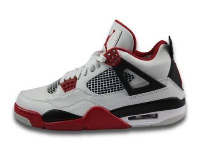 Nike Mens Air Jordan 4 Retro White/Varsity Red-Black Leather Basketball Shoes