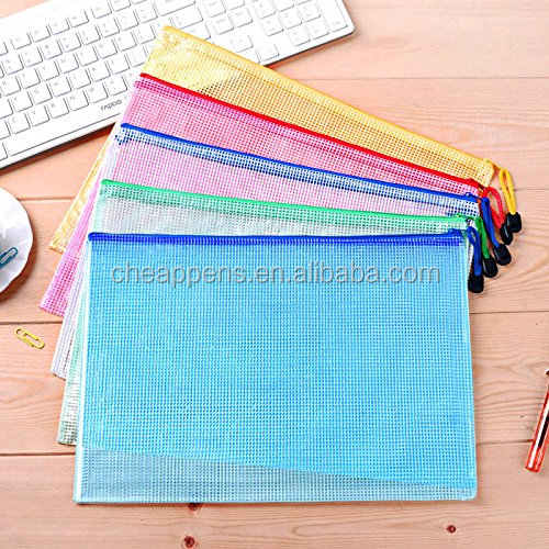 Mesh Document Bag A5 Size Duralble Plastic Zipper File Wallet