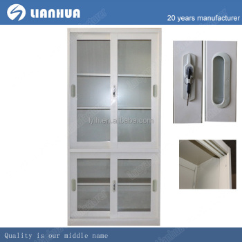 Full Glass Door Metal Frame Two Parts Sliding Glass Door 4 Shelves ...