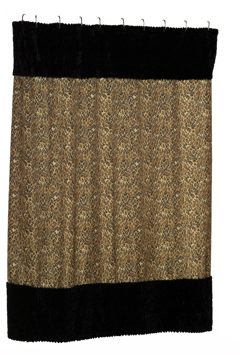 Get Quotations Carnation Home Fashions Animal Instincts Sable And Leopard Faux Fur Trimmed Shower Curtain