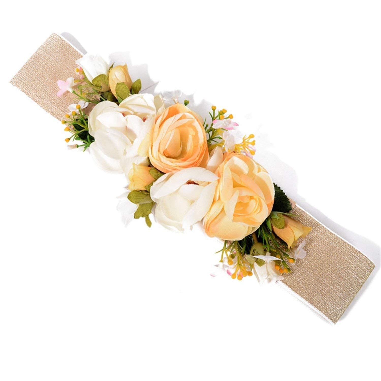 Cheap flower belt accessories find flower belt accessories deals on get quotations acereima sweet romatic lily rose flower belt wedding bohemia fabric waist belt accessories izmirmasajfo