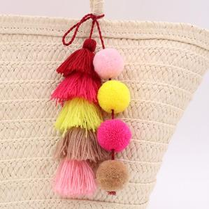 Kaimei custom keychain Colorful Boho Pom Pom Key Chain Bag Accessories Tassel Bag Purse Rainbow Charm Keychain with ball