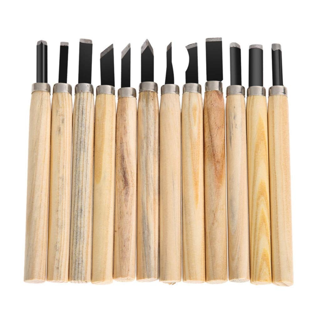 12 Set Professional Carbon Steel Wood Sculpture Carving Chisels Knife Kit For DIY Sculpture Carpenter Beginners & Experts