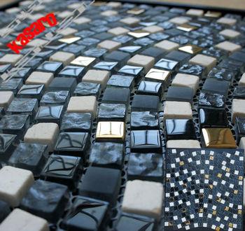 Mosaic Tiles Dubai Gl Stone Metal 15x15 Wall Tile