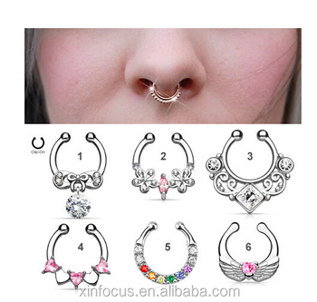 Jeweled Non Piercing Septum Ring Fake Nose Rings Nose Studs Body
