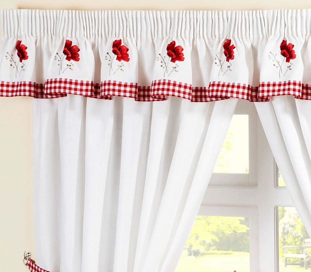SEAT PAD RED WHITE PELMET GINGHAM POPPIES KITCHEN CURTAINS