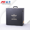 Golden locks wine box gift black bonded leather pearl cotton