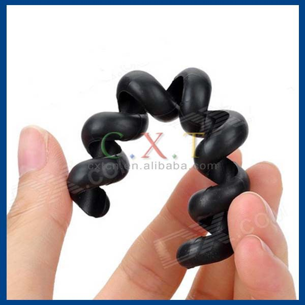 Silicone Spiral Spring Cable Tie Wrap Management - Black (2 PCS)