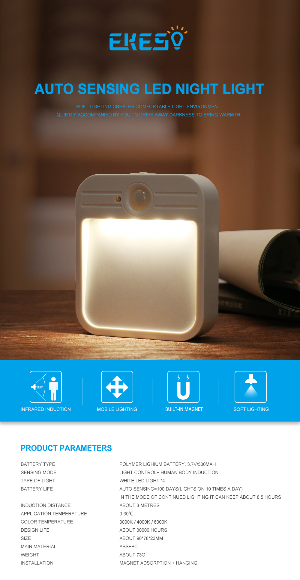 Rechargeable Led Light Pir Sensor Motion Detector Wireless Closet Indoor