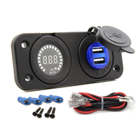 High qulity 4.2A two ports USB charger socket 12V voltmeter panel for Car Marine boat