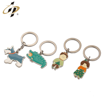 Factory supply sliver metal design your own mini cartoon enamel keyrings