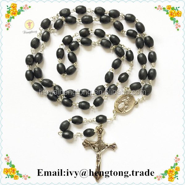 Handmade black oval wooden beads religious rosary with Virgin Mary center & Jesus cross, chain necklace