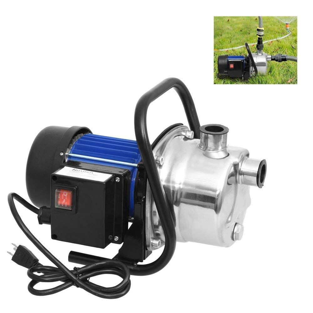 Iekofo 1.6HP Irrigation Pump, 1200W 115V Home Garden Lawn Sprinkling Booster Pump Stainless Shallow Well Pump for Irrigation and Water Transport