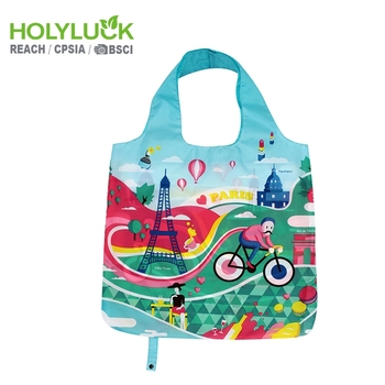 Polyester Reusable Custom Full Color Print Nylon Folding Shopping Tote Bag 797abe8f4
